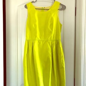 J. Crew yellow green textured dress